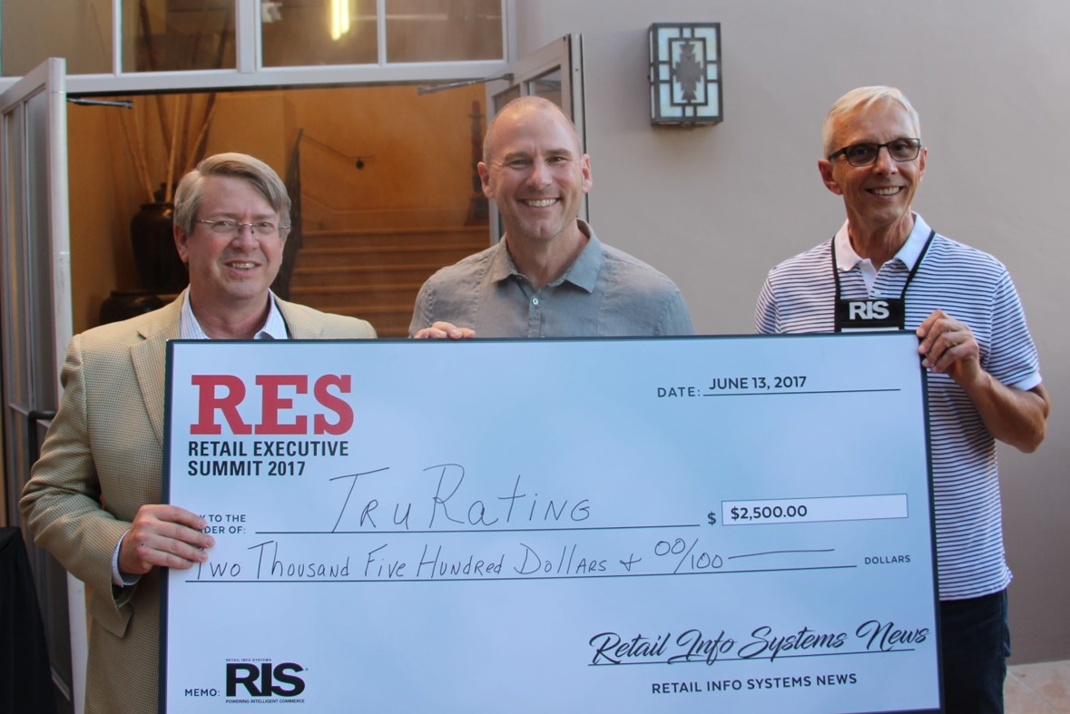 Retail Tech StartUp contest winner TruRating holding award check with Alan Outlaw (center) of TruRating, Dave Mathews (left) of REVTECH, and Joe Skorupa (right), of RIS News.